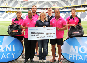 Puma's players, Jimmy Stone and Marius van Rensburg accept a cheque and tog bags from Elastoplast and Mopani Pharmacy.