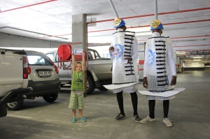 Mopani students Mthokozisi Nyalunga and Reuben Mnisi dressed up as syringes over the weekend to promote getting vaccinated against flu. Little Riley Odendaal eagerly helped out. The 2013 flu vaccine is now available at Mopani Pharmacy.